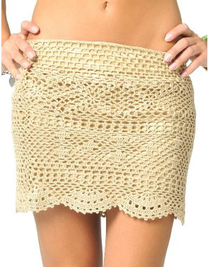 Havana Scalloped Hem Crochet Skirt Tan