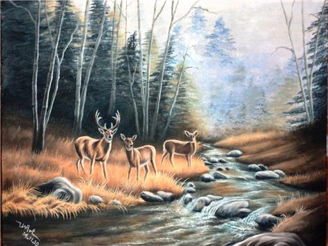 Deers by a stream